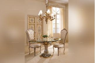 Andrea Fanfani 高端时尚法式雕刻玻璃圆餐桌/餐椅