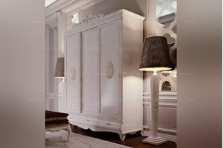 Carpanese新古典雕花红色衣柜