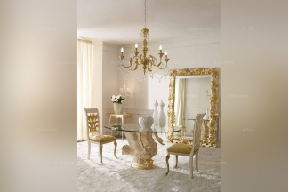 Andrea Fanfani 高端时尚法式玻璃圆餐台/餐椅