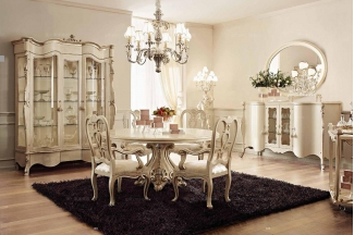 Andrea Fanfani 高端时尚法式白色雕刻圆餐台/餐椅