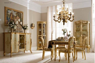 Andrea Fanfani 高端品牌法式雕刻金色仿古长餐台/餐椅