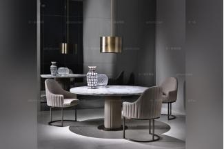 Daytona后现代大理石餐桌+布艺餐椅