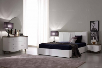 白色卧室家具SIGNORINI&COCO现代白色布艺床