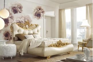 Grilli奢华新古典实木金色雕花卧室皮质系列