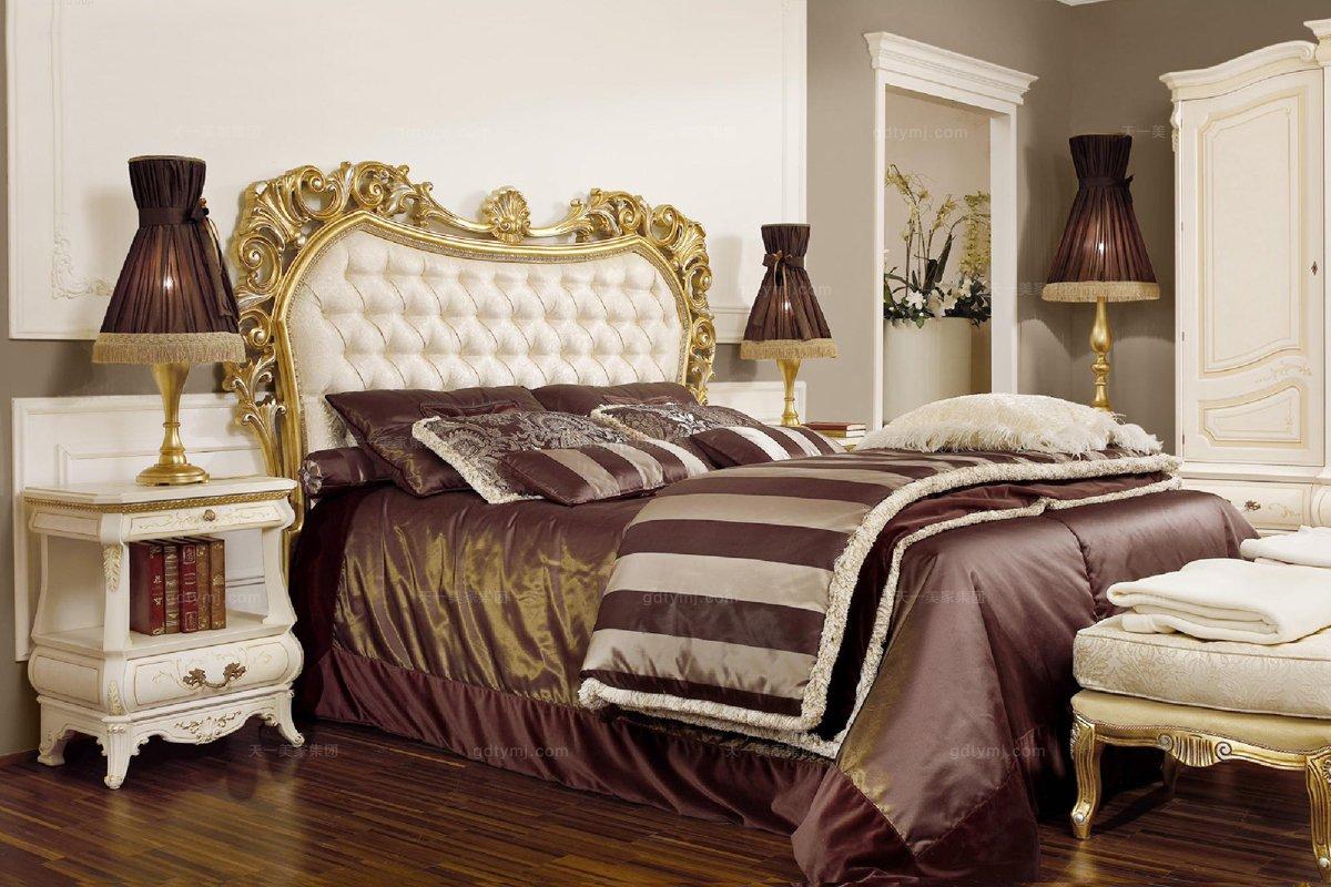grilli奢华新古典金色实木雕花卧室系列
