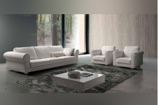 Dema高端别墅会所家具品牌现代白色沙发套组合