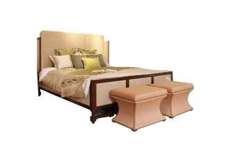 高端时尚现代新古典实木网面双人床