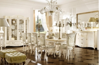 Grilli奢华新古典实木白色餐厅系列