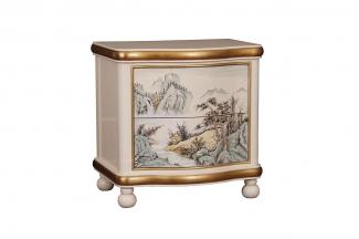 高端时尚彩绘浅色现代新古典床头柜
