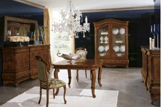 Grilli奢华新古典露木色实木餐厅系列