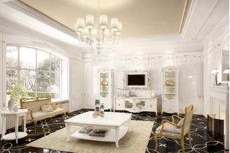 Grilli奢华新古典白色客厅系列