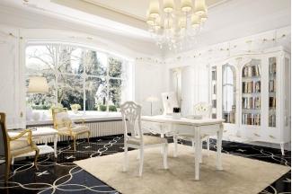 Grilli奢华新古典实木白色书房系列