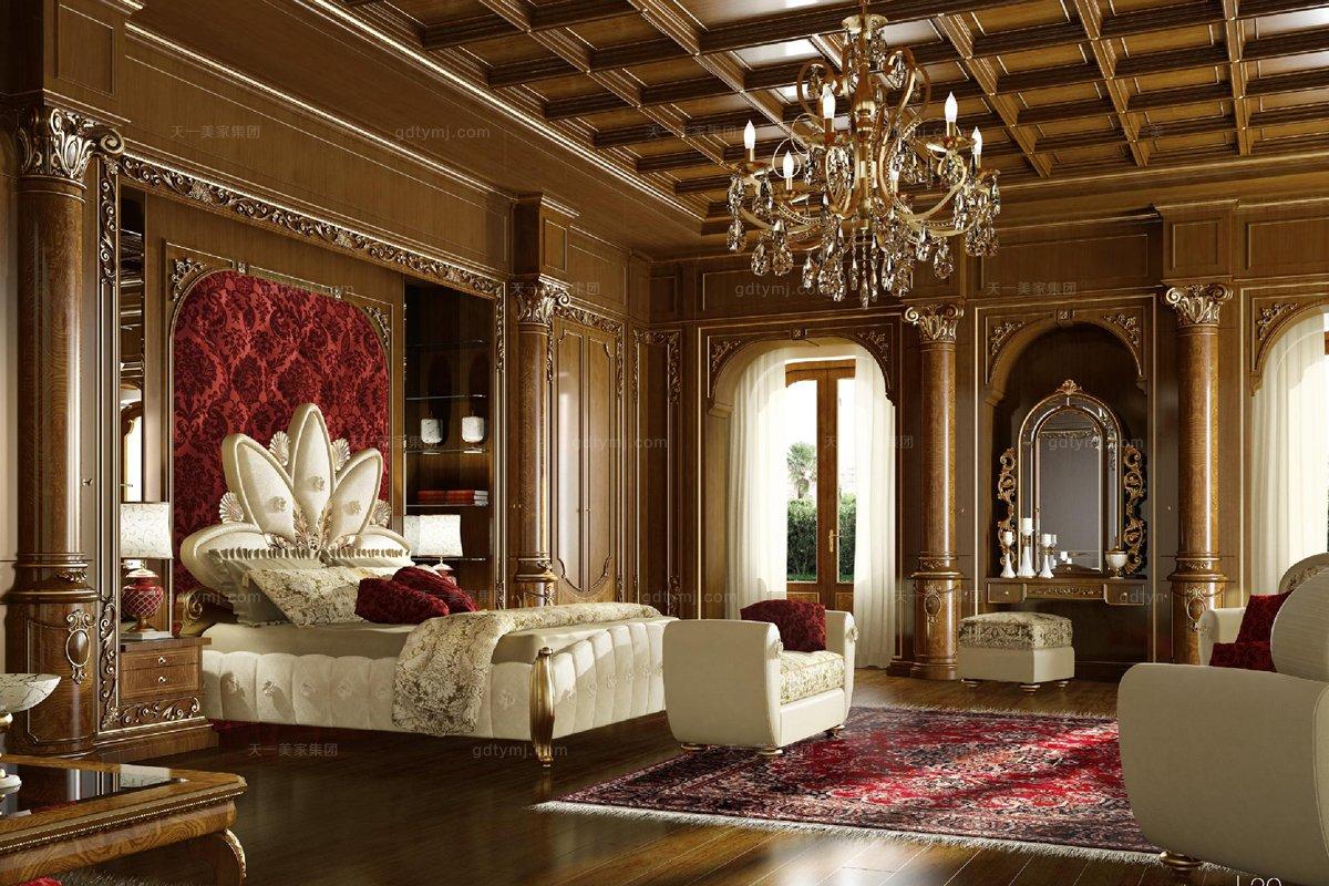 高端进口家具Grilli奢华新古典实木雕花卧室系列