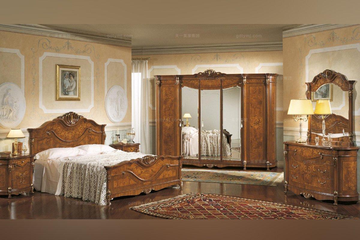 Grilli奢华新古典实木雕花露木色卧室系列