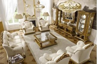 Grilli奢华新古典实木雕花白色客厅系列