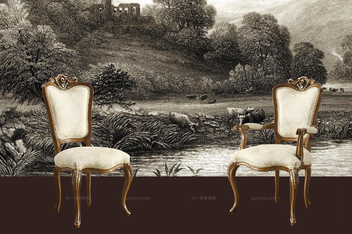 Grilli奢华新古典实木雕花餐厅系列白色餐椅
