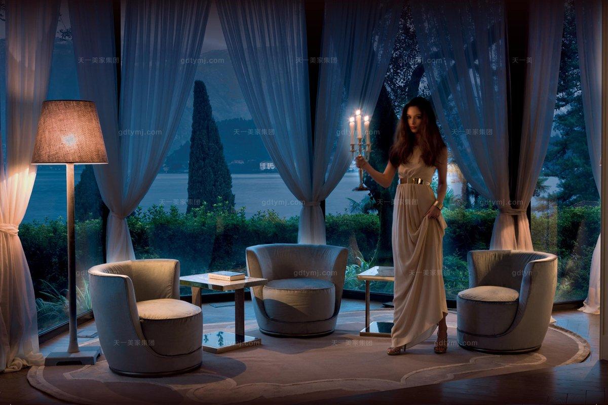 意大利家私Longhi现代布艺单位休闲沙发
