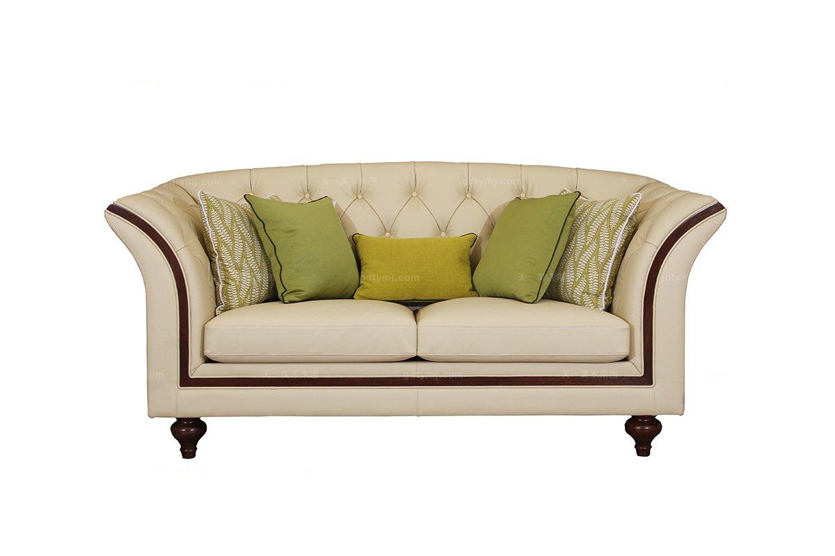 高端时尚现代新古典真皮二位沙发