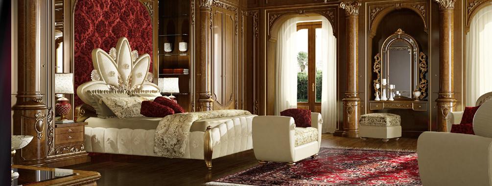 高端进口万博手机网页Grilli奢华新古典实木雕花卧室系列