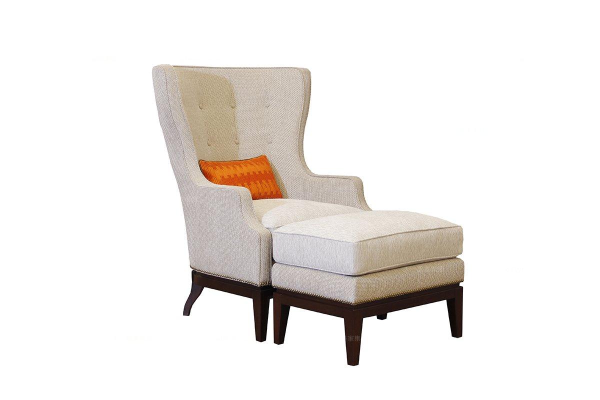 高端时尚简约新古典休闲椅+脚踏