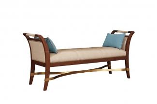 高端品牌简约新古典实木床尾凳