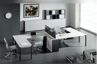 codutti 办公万博手机网页黑白色双人书桌系列