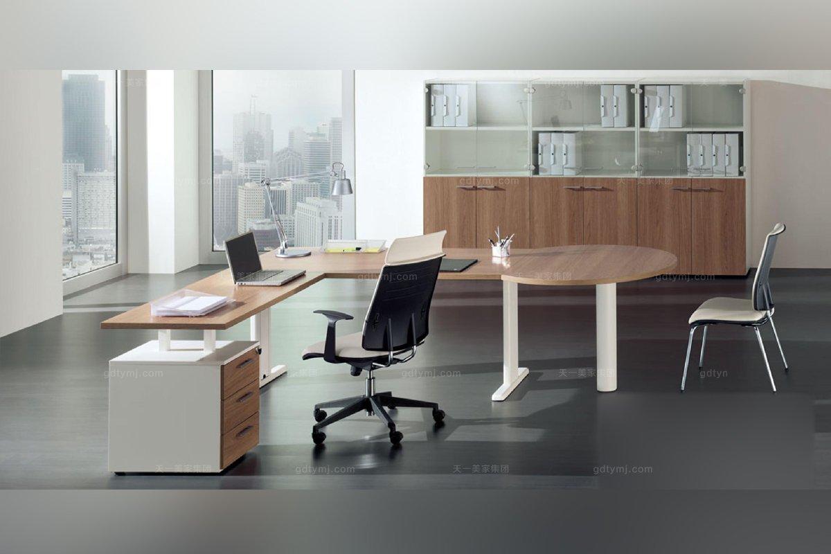 odutti 办公家具原木色不锈钢多人书桌系列