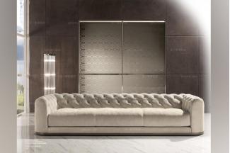 Longhi现代白色布艺三人沙发