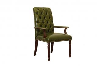 高端专业别墅家具品牌简约新古典绿色真皮书椅