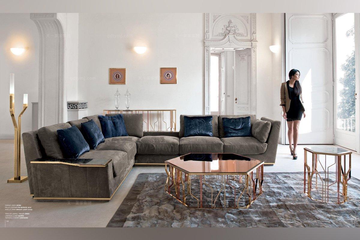Longhi现代灰色布艺组合沙发