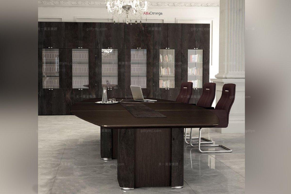 办公家具原木色办公室多人办公桌