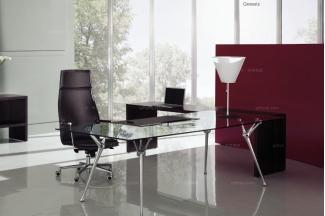 codutti 办公家具黑色单人办公室玻璃办公桌系列