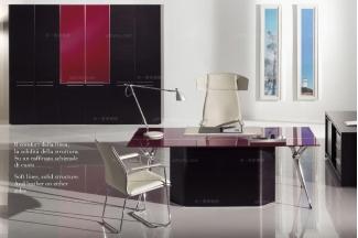 codutti 办公家具黑色玻璃桌面单人办公室系列