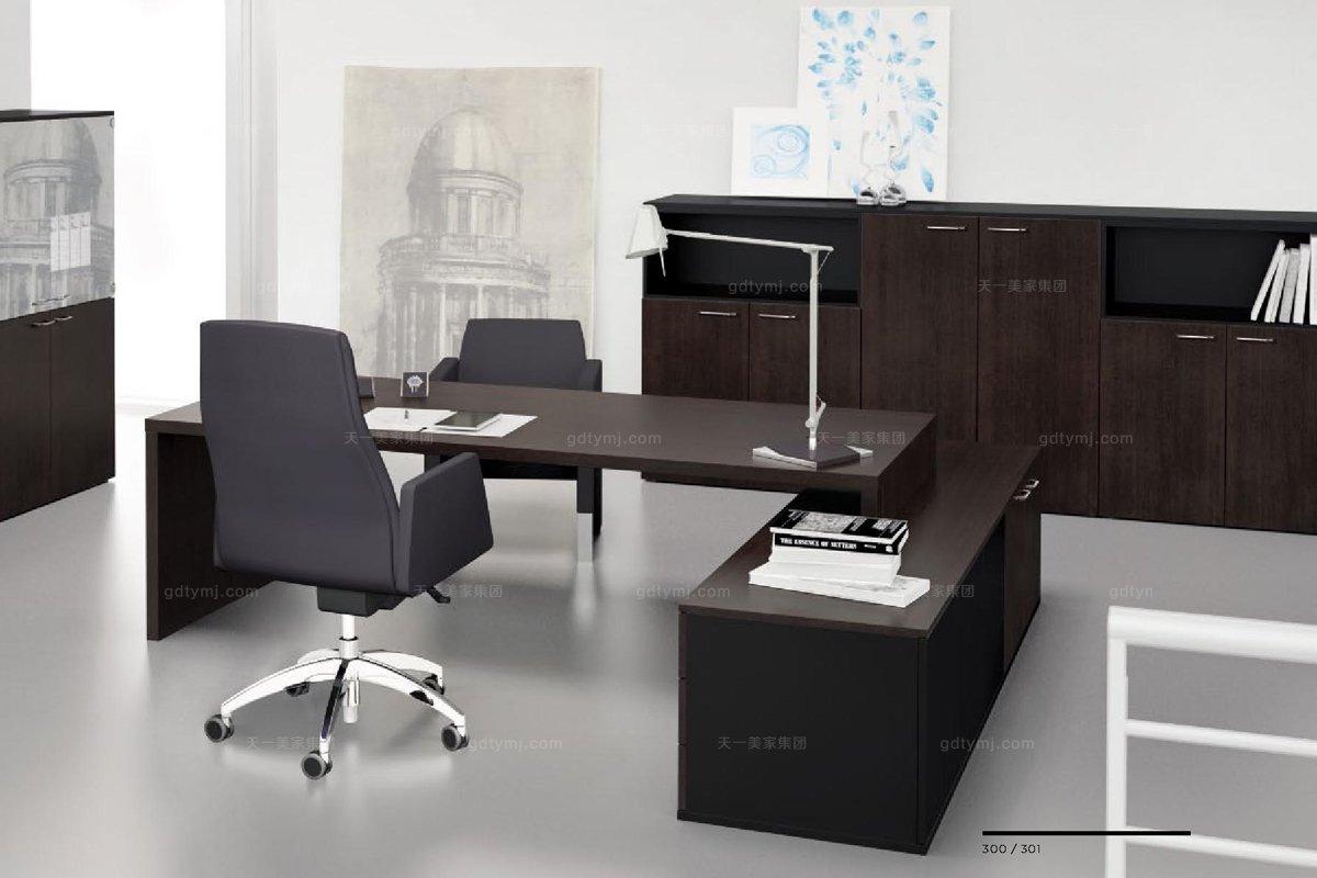 办公家具胡桃木色单人办公桌系列