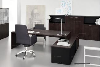codutti 办公家具胡桃木色单人办公桌系列