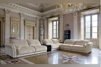 Longhi现代白色布艺客厅组合沙发