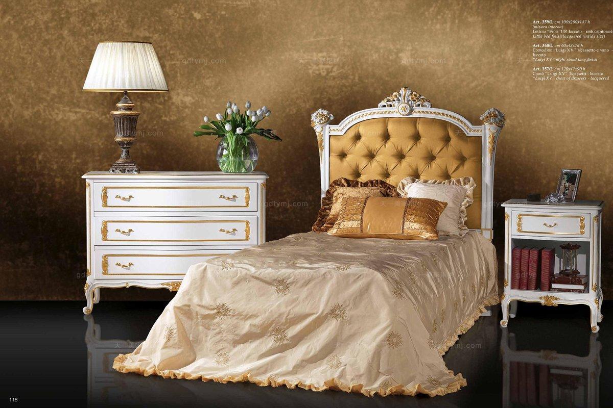 luigi&benigno欧式实木雕花布艺软床卧室