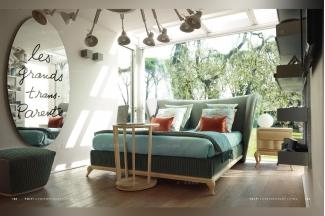Volpi意大利进口法式实木绿色布艺双人床