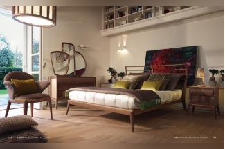 Volpi意大利进口法式胡桃色实木双人床