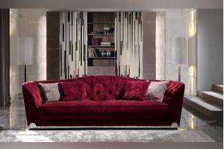 Longhi现代暗红色布艺四人沙发