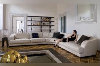 Longhi现代白色真皮转角沙发