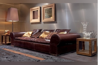 Longhi现代酒红色皮质三人沙发
