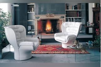 Longhi进口真皮沙发白色个性单人位沙发