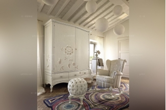 Volpi 意大利进口法式白色双门衣柜组合