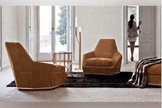Longhi现代橙黄色布艺单人休闲沙发