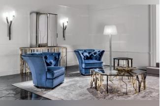Longhi现代时尚蓝色单人休闲沙发