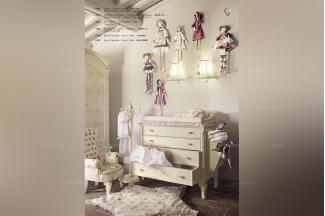 Volpi意大利进口法式白色雕花四斗柜