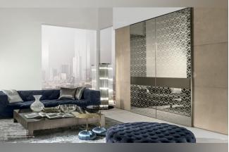 Longhi现代深海蓝布艺长沙发