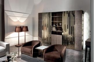 Longhi现代深棕色布艺单人位沙发
