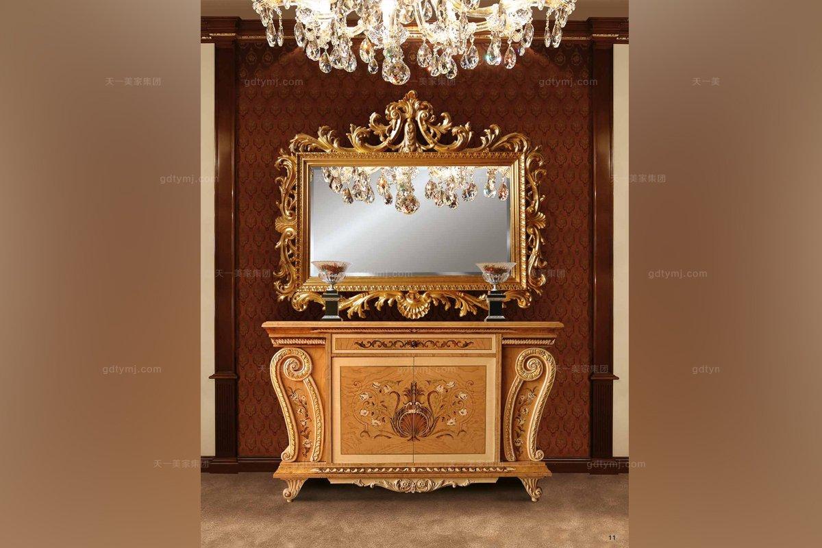 Minotti Luigi&Benigno欧式实木雕花露木纹装饰玄关柜